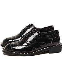 Pump Bullock zapatos 3cm Chunkly tacón de charol de cuero zapatos casuales de las mujeres redonda dedo del pie Shoelace zapatos planos de la UE Tamaño 34-43 ( Color : Black , Size : 37 )