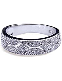 ANGG Zirconia cúbica Diamante simulado Vendimia Anillo de plata de ley 925