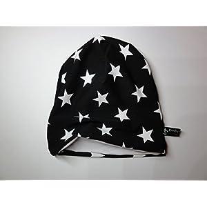 Beanie Babymütze in Schwarz mit weißen Sternen