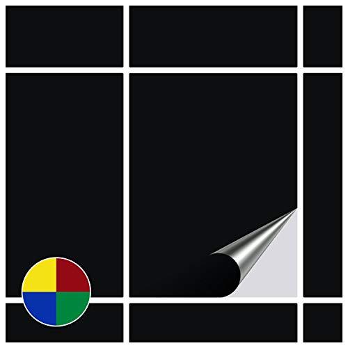 FoLIESEN Fliesenaufkleber für Bad und Küche - 15x20 cm - schwarz matt - 90 Fliesensticker für Wandfliesen