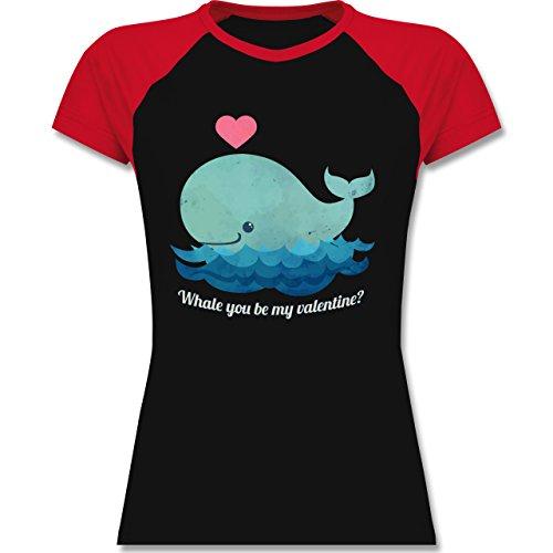 Shirtracer Romantisch - Whale You Be My Valentine? - Zweifarbiges Baseballshirt/Raglan T-Shirt für Damen Schwarz/Rot