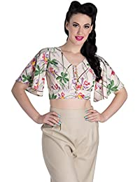 Hell Bunny Bamboo baguettes Orchidée Vintage Tiki Cropped Top Chemisier Rockabilly