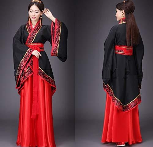 ht Hanfu Alten Chinesischen Cosplay Kostüm Alten Chinesischen Hanfu Frauen Hanfu Kleidung Chinesische Dame Bühnenkleid,Black,L ()