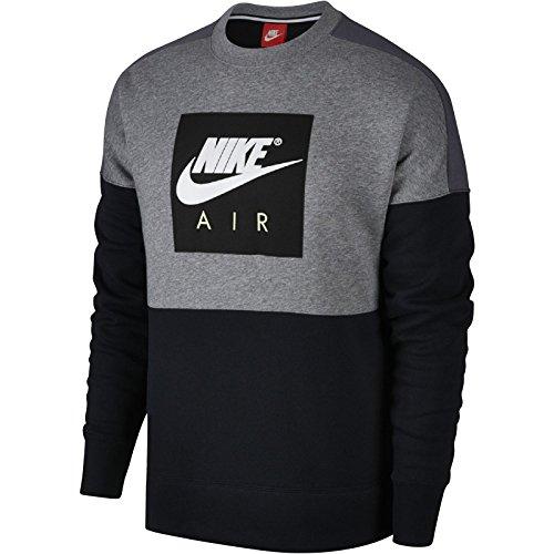 Nike Herren Sportswear Crew Air Fleece Sweatshirt, Carbon Heather/Dark, L (Air Pullover)