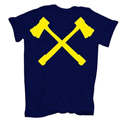 Männer und Herren T-Shirt Feuer bekämpfen du musst (mit Rückendruck) Dunkelblau