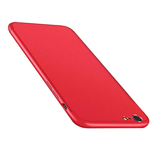 Coque Détachable iPhone 6S Plus, Bonice iPhone 6 Plus Coque Matte Full body Coque Etui de Protection [Séparable] Ultra Mince Fine 0,3 mm Slim Léger Coque [3 en 1] Cover Case Anti-Scratch Hull Couvertu A - Rouge