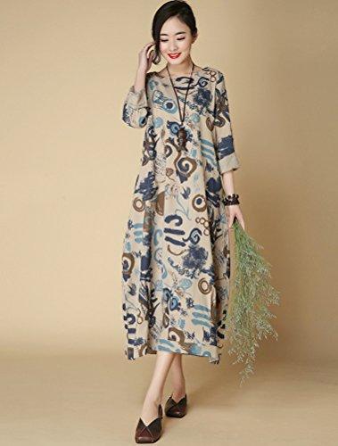 Vogstyle Damen Neuer Beiläufige Lange Hülsen Kleider mit Seitentaschen Blau
