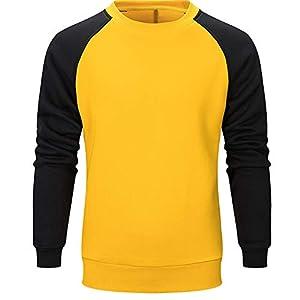 JUSTSELL Langarmshirts Pullover Herren Herbst Winter, Männer Farbe Patchwork Sweatshirt Rundhalsausschnitt T Shirt Sport Pullover Casual Sweatshirt