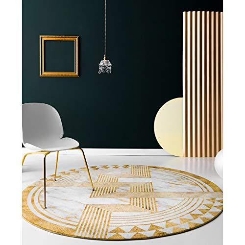 YUN HAI Moderner Abstrakter Geometrie-Teppich 3,9 Fuß Weicher Runder Bereichs-Teppich-Schwarzweiss-Boden-Matten-Ausgangsdekor-Wohnzimmer, Schlafzimmer, Balkon (Color : 120cm, Size : Gold with White) - Füße Runde Gold Teppich