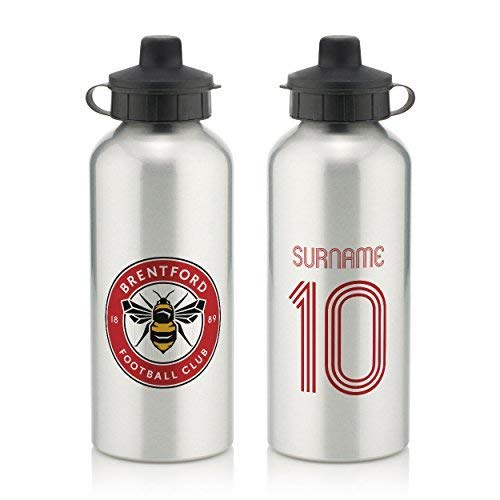 Brentford Official PERSONALISED Retro Shirt Water Bottle with Spring Hook  600ml  - SILVER WHITE  FREE PERSONALISATION