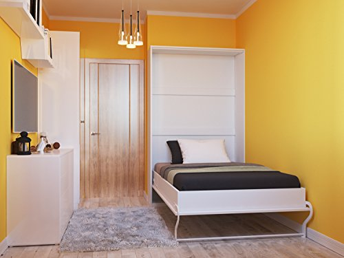 Schrankbett 120cm Vertikal Weiss Hochglanzfront SMARTBett Tonnentaschenmatratze 120×200 cm, ideal als Gästebett – Wandbett, Schrank mit integriertem Klappbett, SMARTBett - 2