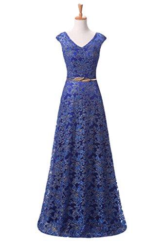 Gorgeous Bride Scheind A-Linie V-Ausschnitte Tuell Lang Abendkleider Festkleider Ballkleider Royalblau