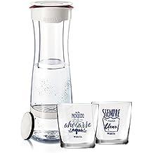 Brita Fill & Serve Botella con Filtro, 1,3 l + 2 Vasos, Blanco y Granate, 11.5x23.95x37.45 cm, 4 Unidades