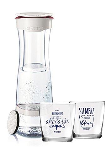 BRITA Fill & Serve Botella con Filtro, 1,3 l + 2 Vasos, Blanco y Granate, 11.5x23.95x37.45 cm 4 Unidades