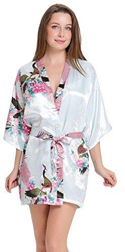 Aibrou Satén Kimono Pijamas Mujer, 3/4 Manga Estampado Camisón Mujer, Elegante Cómoda Pijama Bata Albonoz Para Casa,Cama.