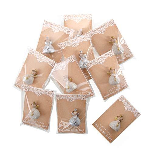 10bomboniere bello dass du bist bianco beige con angelo statuetta e scheda–give away di nozze decorazione mitgebsel per ospiti tavolo tavolo gioielli festa compleanno