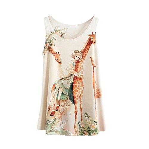 Etosell Femmes Sans Manches T-Shirts Imprimes Animaux Floral Chemisier Gilet 20 Couleurs A15