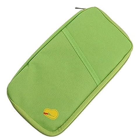 Porte-cartes Voyage Multifonction Porte-monnaie, QinMM Zipper Sac Poche Passeport Crédit Grande Capacité Lumière Portefeuille (Vert)