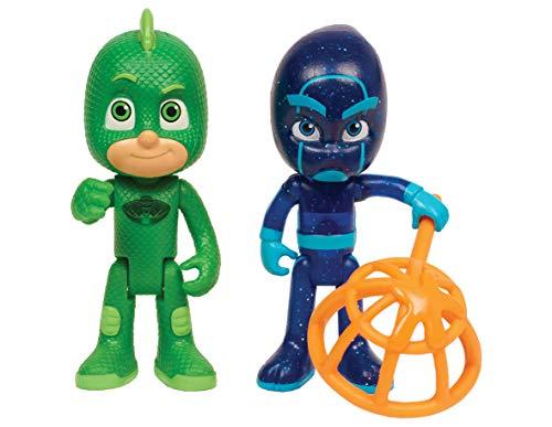 PJ Masks-24888 Pack De Dos Figuras Gekko Y Ninja Nocturno, (Bandai 24888)