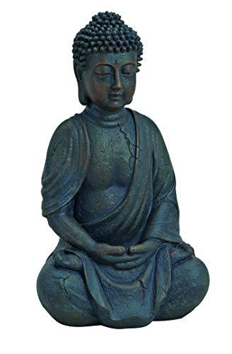 WOMA Deko Buddha Figur Sitzend aus Wetterfestem Polyresin, Dekoration für Haus, Wohnung und Garten, 25cm hoch, Skulptur für Innen und Außen, Braun