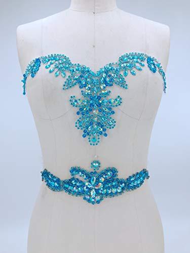 Strassapplikation mit Kristallbesatz, 3D-Spitze, ideal für DIY Ausschnitt, Miedergürtel, Hochzeit, Abschlussball, Kleid, A3 aqua blue