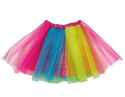iLoveCos 80er Jahre Neon Tütü/Tutu/Tüllrock/Unterrock Petticoat Rüschen Pink Regenbogen Rot Rock Kostüm 1980er Fancy Dress für Mädchen (Regenbogen) (Kind Fancy Dress)
