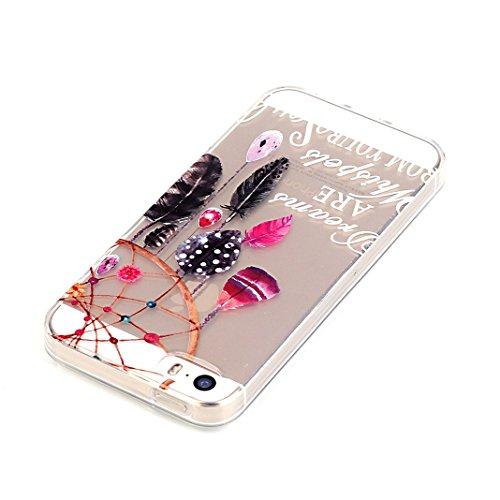 OuDu Transparente Hülle für iPhone 5/5S Gummi Silikon Schutzhülle Weiche Glatte Schale Schlanke Flexible Tasche Soft Clear Silicone Case Niedlichen Muster Hülle Ultra Dünne Leichte Etui Kratzfeste Sto Traumfänger