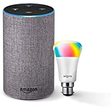 Amazon Echo (Grey) Combo with Wipro 7W Smart Color Bulb