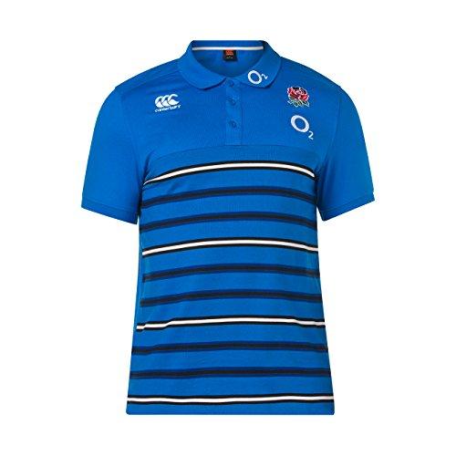 Canterbury Herren Offizielles England 18/19Cotton Stripe Rugby Polo XL Directoire Blue