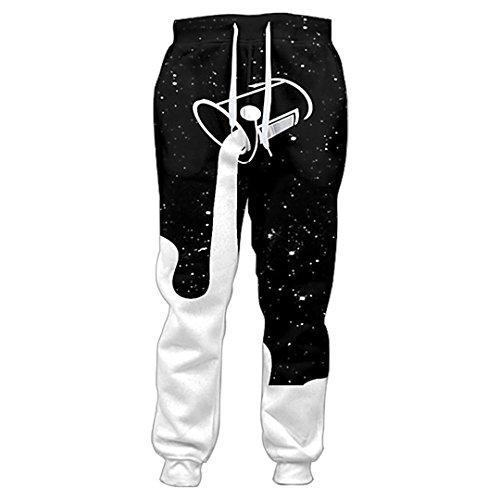 Joggers Pants Men In den Sternenhimmel gießen, um die Galaxie zu füllen Glas Milch 3D Jogginghose Freizeithose Black M Aeropostale Capris