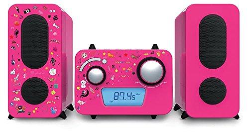 BigBen bigben MCD11Stereo Music Center - Kids, pink, mit 5 Aufkleber Bögen