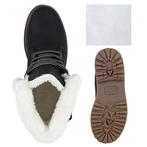 Warm Gefütterte Damen Outdoor Boots Kunstpelz Stiefeletten Schnallen Schwarz Weiss