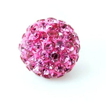Angel Malone Cordon en satin Rose vif 10 mm Style Shamballa Strass Disco Brother Wooden Beads Perles