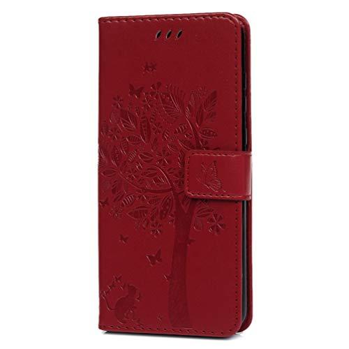 Moto G7 Handytasche Kompatible für Motorola Moto G7 Plus Hülle Baum Muster Flip Wallet Case Cover PU Leder Tasche Handyhülle Schutzhülle Skin Ständer Klapphülle Schale Bumper Magnet Deckel-Rot