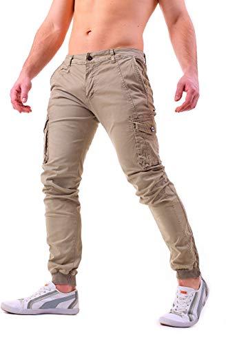 50708e1e276f8f Instinct Pantaloni Uomo Cargo con Tasche Laterali Tasconi Jeans Slim Fit  Elastico alle Caviglie Militari Zip