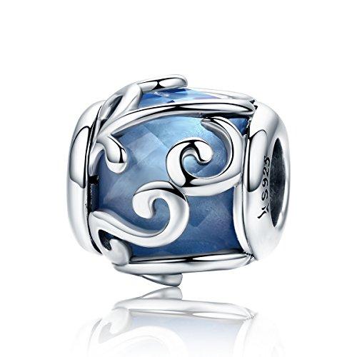 Lily Jewelry Dancing Waves azzurro cristallo perline in argento Sterling 925, adatto per braccialetti Pandora