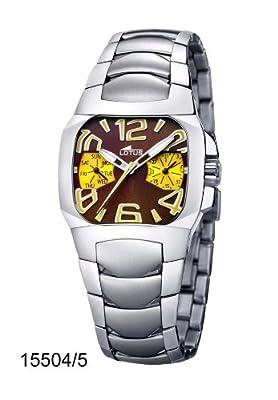 Lotus 15504-5 - Reloj analógico de mujer de cuarzo con correa de acero inoxidable plateada - sumergible a 50 metros