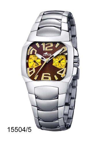 Lotus 15504-5 – Reloj analógico de mujer de cuarzo con correa de acero inoxidable plateada – sumergible a 50 metros