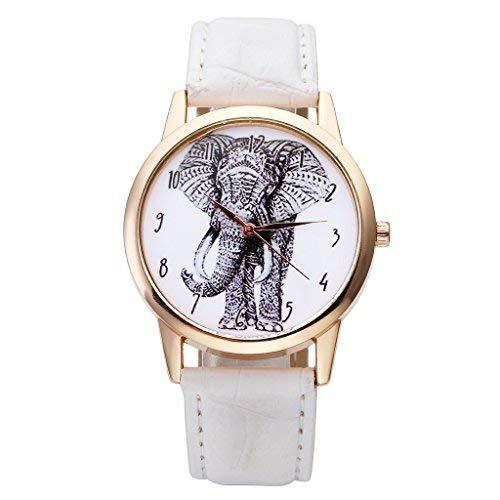 JSDDE Blanco y Negro Sketch de Elefante Dial números arábigos Escala Oro Rosa Funda Piel Banda analógico Cuarzo muñeca Watch-White