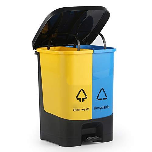 YANZHEN Corbeille Poubelle Abfallbehälter Klassifizierungs-Pedal Mit Deckel-Rechteck-Küchen-im Freien Umweltschutz-PP-Plastik, 2 Größe (Farbe : SCHWARZ, größe : 27x24.5x36cm)
