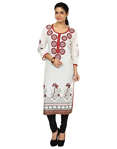 Kurtis for women by ALZARA Women's Cotton Chikankari Straight (Az-1105_Off-White_Large)