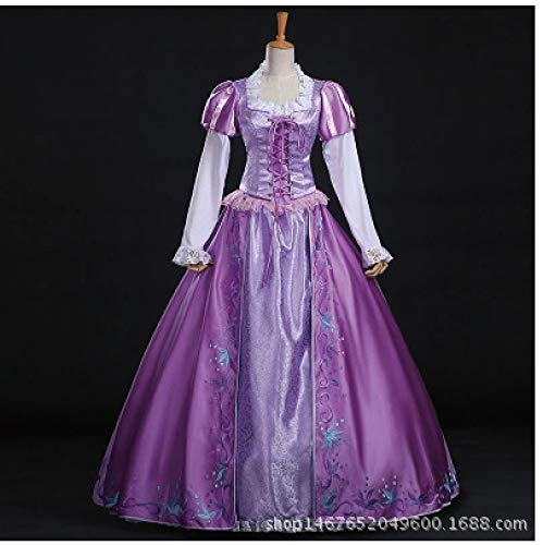 POIUYT Womens Rapunzel Kostüm New Disney Princess Ladies Party Outfit Cosplay Cosplay Prinzessin Kostüm Bestickt,Purple-M