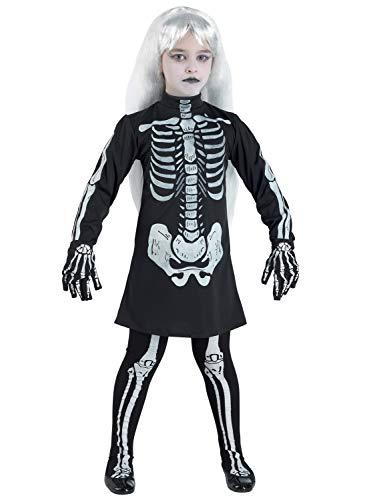 Clown Republic 57710/10 - Disfraz de esqueleto para niña, multicolor