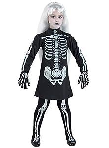 Clown Republic 57708/08 - Disfraz de esqueleto para niña, multicolor