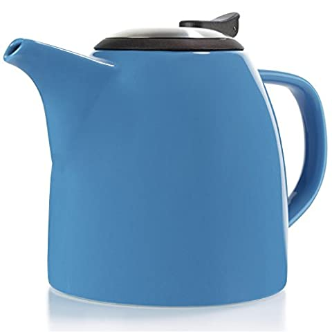 Tealyra - Drago - Théière en Céramique Bleu - 1100ml (5-6 tasse) - Ceramic Teapot Blue - Large Stylish High-Fired Ceramic Teapot with Stainless Steel Lid and Extra-Fine Infuser To Brew Loose Leaf Tea