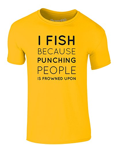 Brand88 - I Fish Because..., Erwachsene Gedrucktes T-Shirt Gänseblümchen-Gelb/Schwarz