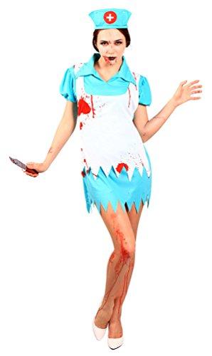 Karneval-Klamotten Zombie Krankenschwester Kostüm blutige Krankenschwester Damen-Kostüm Halloween Karneval Horror Krankenschwester Größe 40/42 (Sanitäter Krankenschwester Kostüm)