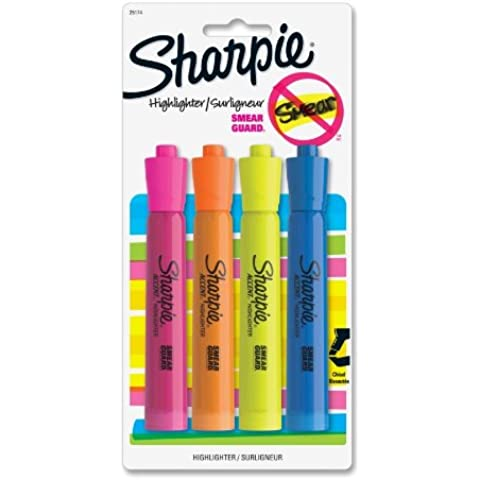 Sharpie - Major Accent Highlighter, Chisel Point, 4/PK, YW/OE/BE/PK, Sold as 1 Package, SAN25174PP