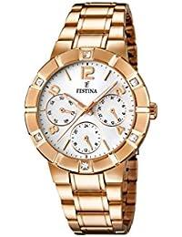 University Sports Press  F16709/1 - Reloj de cuarzo para mujer, con correa de acero inoxidable chapado, color oro rosa