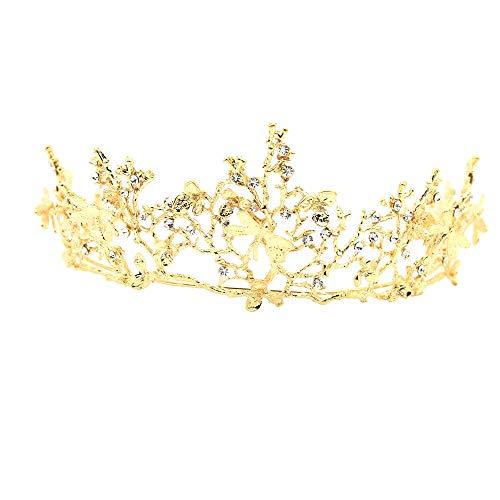 TIREOW_Hochzeit Braut Strass Kristall Tiara Krone Geburtstag Party Prinzessin Diadem,Gold